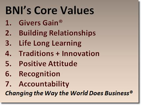 BNI SoCal Core Values